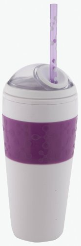 Copco 16-Ounce Cold Beverage Travel Cup with Straw, Purple Jacks