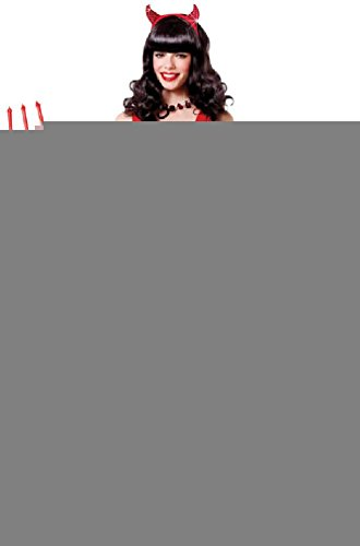 [8eighteen Devil Lady Sequin Red Hot Dress Up Women Adult Costume] (Hot Halloween Costumes Devil)