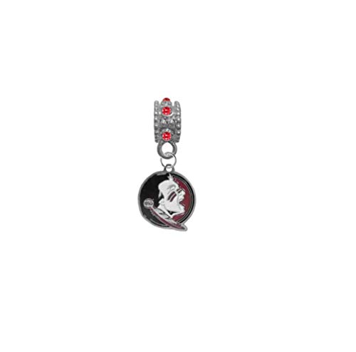Florida State Seminoles FSU New Logo RED Rhinestone/Gem Charm with Connector - Universal European Slide On Charm - Classic & Original Style Perfect for Bracelets, Necklaces, DIY Jewelry
