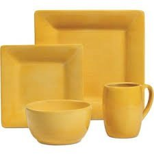 Yellow 4 Piece Place Setting - Espana Square Solid Yellow 4-Piece Place Setting