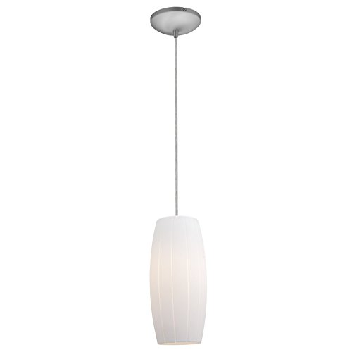 Access Lighting 28070-3C-BS/WHT Cognac LED Cord Pendant with White Glass Shade, Brushed Steel