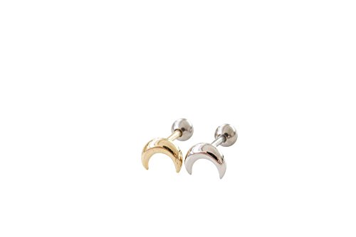 Boho Gypsy Cartilage Tragus Round Circle Half Crescent Moon Ear Studs Earring Piercing-EX (gold)
