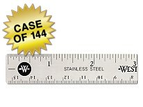 Westcott Stainless Steel Office Ruler With Non Slip Cork Base, 6'', Case of 144 by Westcott