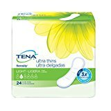 Tena Incontinence Ultra Thin Pads for Women, Light, Long, 24 Count,(pack of 6)