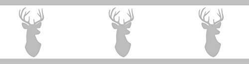 Sweet JoJo Designs Baby Childrens and Kids Wall Paper Border for Grey and White Woodland Deer ()