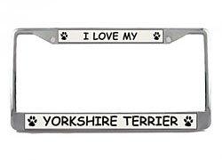 Terrier License Plate Frame (Yorkshire Terrier License Plate Frame (Chrome) 5 Year Warranty)