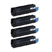 Toner Spot Combo Pack Compatible Okidata Toner for C5500n, C5800Ldn - 1 of B, C, M, Y (High Yield) - Spot Combo Pack