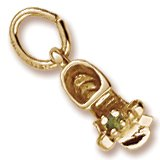 Rembrandt Baby Shoe Charm (Rembrandt Charms Baby Shoe Charm with Simulated Peridot, 10K Yellow Gold)