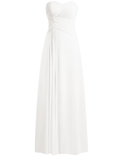 JAEDEN Beach Wedding Dresses Strapless Sweetheart Bridal Gown Chiffon Pleat Ivory L