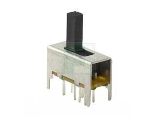 s 25 item E-SWITCH EG2301B EG Series DP3T On-On-On Vertical Through Hole Slide Switch