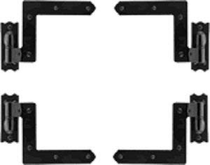 Exterior Stainless Steel Shutter Hinge Set in Black Finish for Homes with Masonry/Stone Exterior - 4 1/4'' Offset (1 Window Set for 2 Shutters) by Delaney