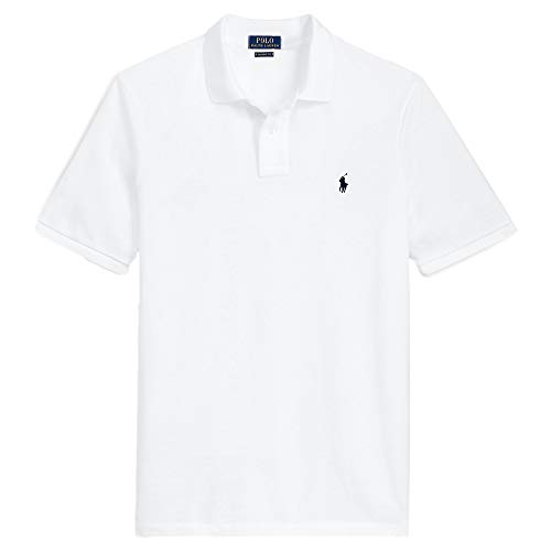 Polo Ralph Lauren Men Custom Fit Mesh Pony Logo Shirt (XXL, BasicWhite)