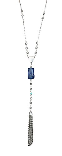 Navy Pendant Necklace (Handmade Boho Long Natural Blue Agate Tassel Pendant Necklace for Women with Beads | SPUNKYsoul Collection)