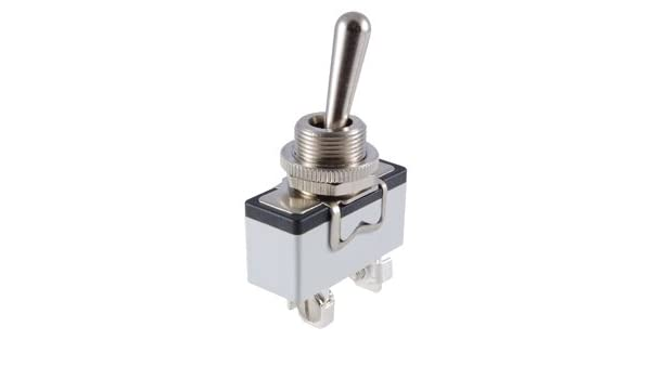 NTE Electronics 54-372 Bat Handle Toggle Switch Screw Terminals 15 Amp DPDT Circuit, Brass//Nickel Plate Actuator 125V Inc. ON -NONE-ON Action