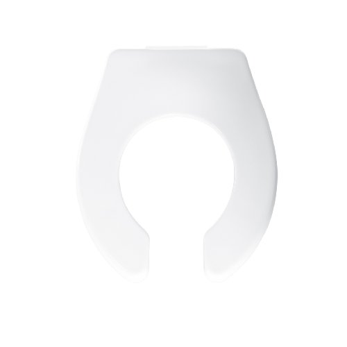 Round Open Front Less Cover - Bemis BB955CT000 Plastic Open Front Less Cover Round Toilet Seat with Check Hinge, White