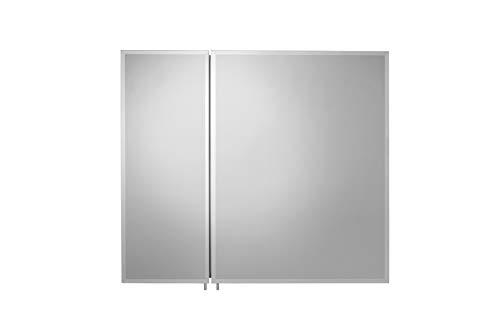 Croydex Halton Single Door Bi View Aluminium Cabinet with Hang N Lock Fitting System, 76 x 66 - View Bi Cabinet Mirror