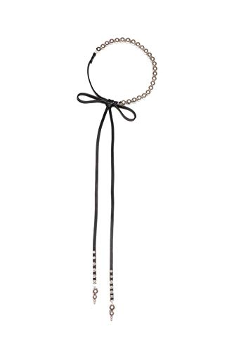 Carolee Women's Pearl Choker Necklace with Leather Bow, 15 inches ()