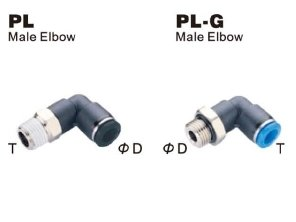 "PneumaticPlus PL-1/4-N2 Push to Connect Tube Fitting, Male Elbow - 1/4"" Tube OD x 1/4"" NPT Thread (Pack of 10)"