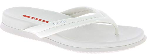 (Prada Women's White Patent Leather Thong Slippers Shoes - Size: 8.5 US)