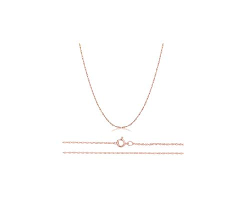 Orostar Solid 14K Yellow, White or Rose Gold 0.8mm Thin Rope Chain 16