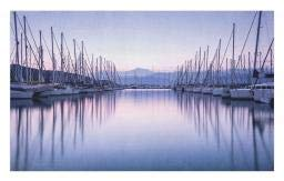 Ambesonne Sailboat Doormat, Large Yacht Harbor in Sunrise Scenery Cruise Leisure Summertime Active Life, Decorative Polyester Floor Mat with Non-Skid Backing, 30 W X 18 L Inches, Lilac Purple -