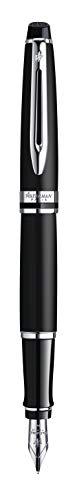 Waterman Expert Fountain Pen, Matte Black with Chrome Trim, Medium Nib with Blue Ink Cartridge, Gift Box