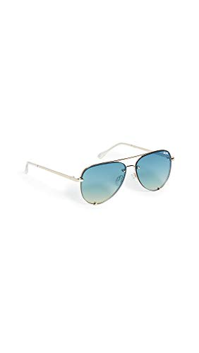 (Quay Women's High Key Mini Rimless Sunglasses, Gold/Turquoise, One Size)