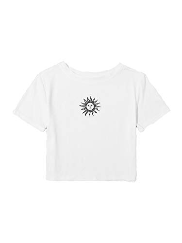 SweatyRocks Women's Cactus Print Crop Top Summer Short Sleeve Graphic T-Shirts