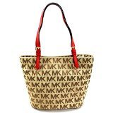MICHAEL KORS MK SIGNATURE JACQUARD MEDIUM TOTE Bg/Red - And Online Store Michael Site The Kors Official