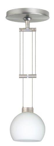 Besa Lighting 1XA-565807-SN 1X50W Gy6.35 Palla 5 Pendant with Opal Matte Glass, Satin Nickel Finish