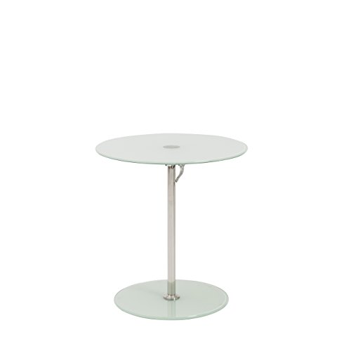 Euro Style Radinka Height Adjustable Round Glass Table, Frosted Glass (Frosted Glass Top Table)