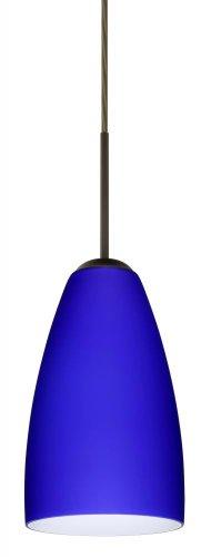 - Besa Lighting 1JT-1511CM-BR 1X75W A19 Riva 9 Pendant with Cobalt Blue Matte Glass, Bronze Finish