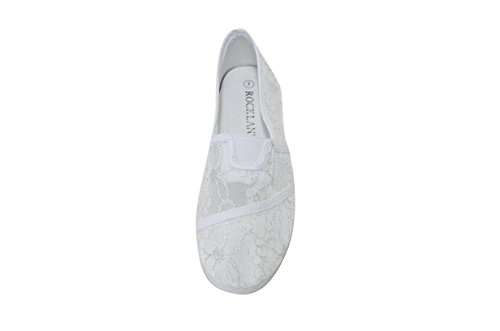 Happy Bull Women's Slip On Lace Flats Shoes Canvas Net (CAMMY-15) White 8 M US