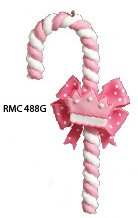 Personalized Candy Cane Ornament (Pink Candy Cane Crown Personalized Christmas Tree Ornament)