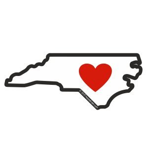North Carolina Sticker - Heart in NC - Vinyl, Die-Cut, 4 inch, Decal & Gift. Perfect for Water Bottle, Laptop, Cooler and Bumper, All-Weather Waterproof, Outdoor & (Discount Scrapbook Stickers)