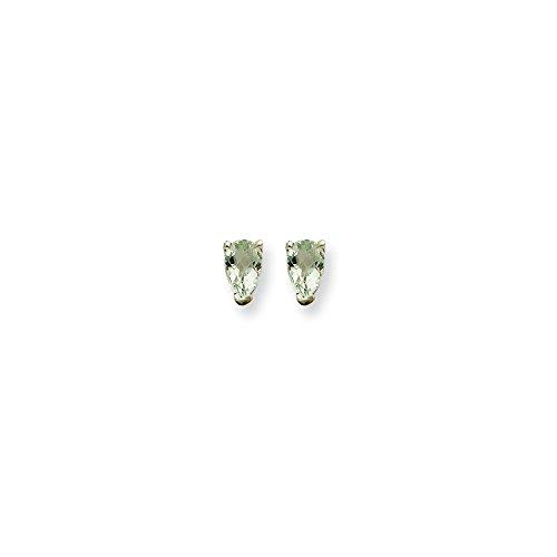 Best Designer Jewelry 14kw 5x3 Pear Checker-Cut Green Quartz Earrings