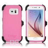 OtterBox Defender Case & Holster for Samsung Galaxy S6 - Hibiscus Pink/White ()