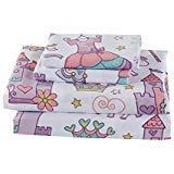 (Luxury Home Kids Sheet Castle Unicorn Rainbow Flower Wand Heart Crown Purple White Pink Yellow #CastleLavender (Full Sheet))