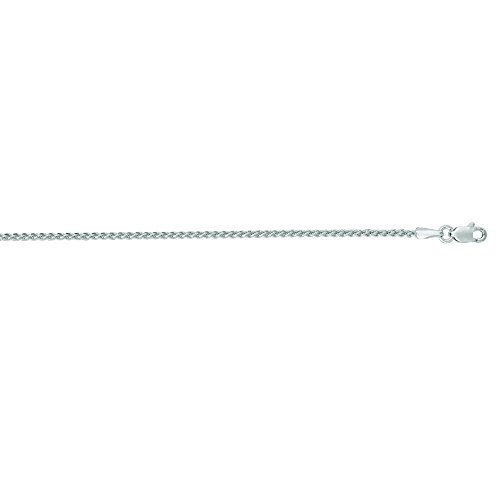 14k White Gold 1.5mm Round Wheat Chain With Lobster Clasp Necklace - 18 Inch