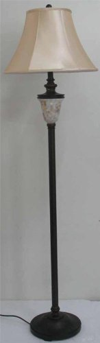 (Lite Source C61199 Floor Lamp with Beige Fabric Shades, Bronze Finish, 18.75