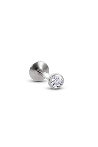 316L Stainless Steel Labret Nose Ring Stud Push Pin Threadless Post 1/4