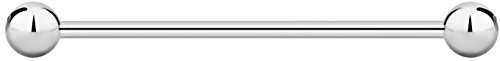 (14g 35mm Internally Threaded Surgical Steel Straight Barbell Body Piercing Jewelry, 5mm Balls)
