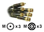 Video Cable - Component Video - RCA - Male - Bnc - Male - 50 Feet - Charcoal