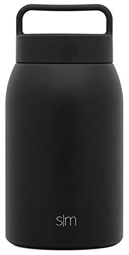 Simple Modern 32oz Provision Food Jar with Handle Lid - Vacuum Insulated 18/8 Stainless Steel Leak Proof Kid's Food Storage Container Flask -Midnight Black