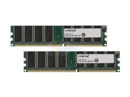 Crucial 2GB kit (1GBx2) Upgrade for a Dell Dimension 3000 System (DDR PC3200, NON-ECC, CL=3)