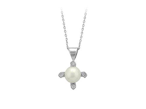 Pendentif Perle et Diamants-Femme- or Blanc 210P0008