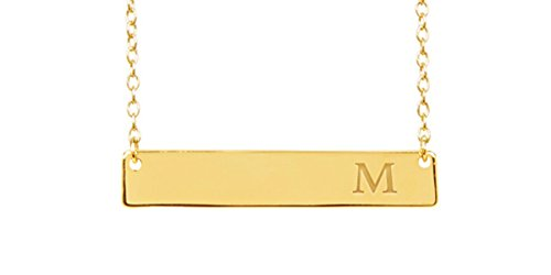 Sterling Forever - Gold Plated Sterling Silver Personalized Initial Bar Necklace for Women, 16-18