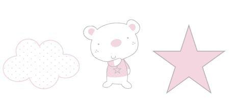 Pirulos 16213120 - Apliques bordados, diseño osito star, 32 x 90 cm, color blanco y rosa Coimasa