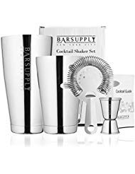 Professional Boston Cocktail Shaker Set, Stainless Steel, 4-Piece Set, 28oz/18oz Weighted Shaker Tins, Hawthorne Strainer, Double Sided Jigger, Recipe Booklet - Non Freeze, Non Drip, Dishwasher Safe
