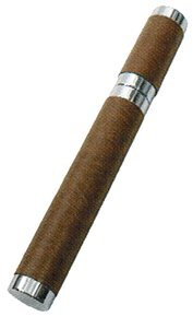 (Leather Wrapped Single Stainless Steel Cigar Tube Brown)